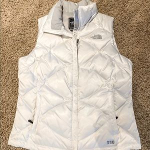 Women's north face vest white ivory small puffer